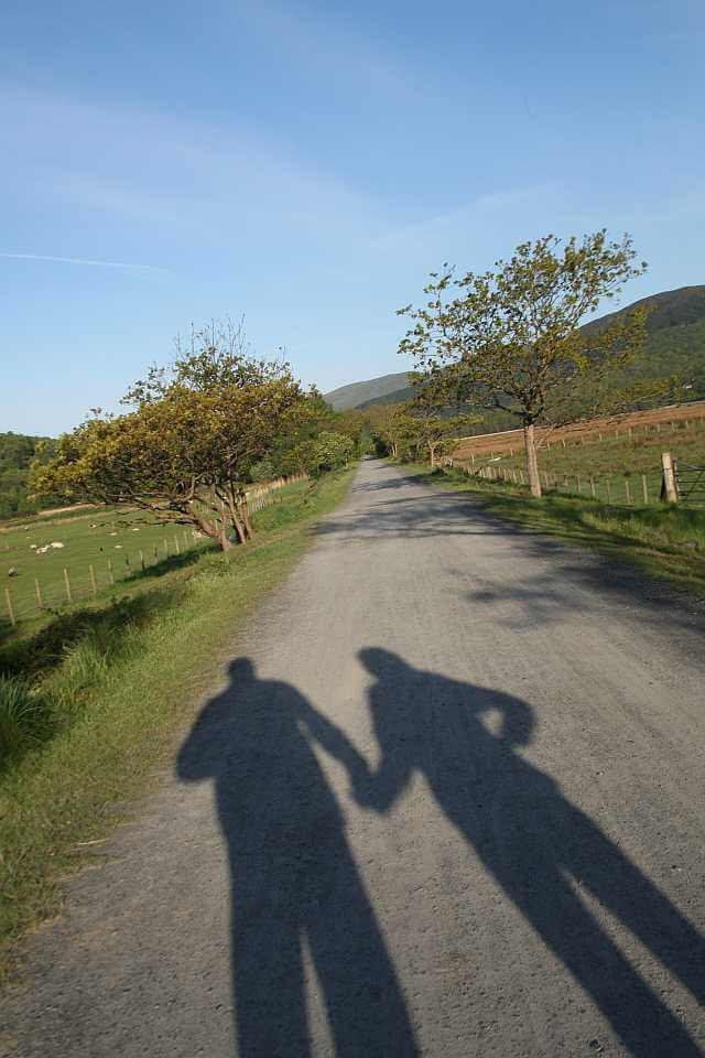 0905-0034 - chris & karen (shadow) on walk near dolgellau